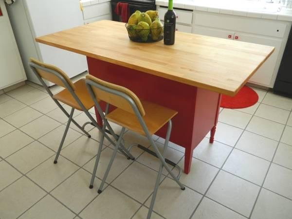 Красный кухонный остров с деревянной столешницей