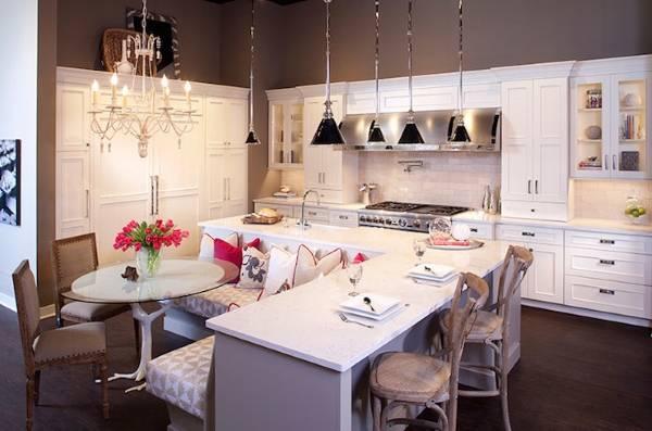 Г-образный кухонный остров фото дизайн