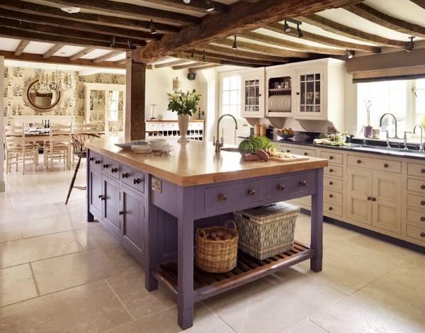 Фиолетовый кухонный остров стол с тумбой
