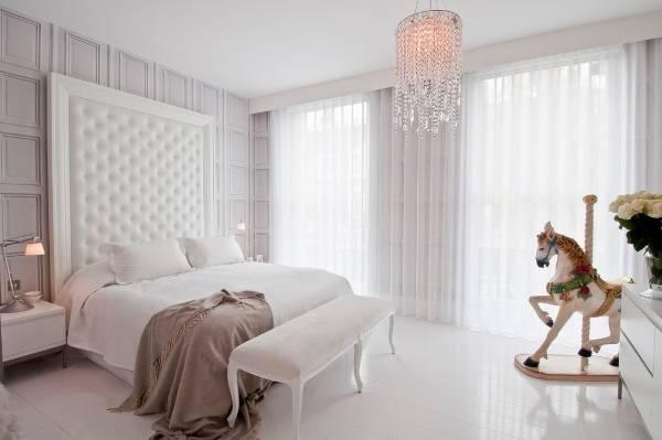 luxury дизайн белой спальни фото