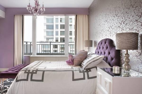 Luxury интерьер спальни с обоями двух видов