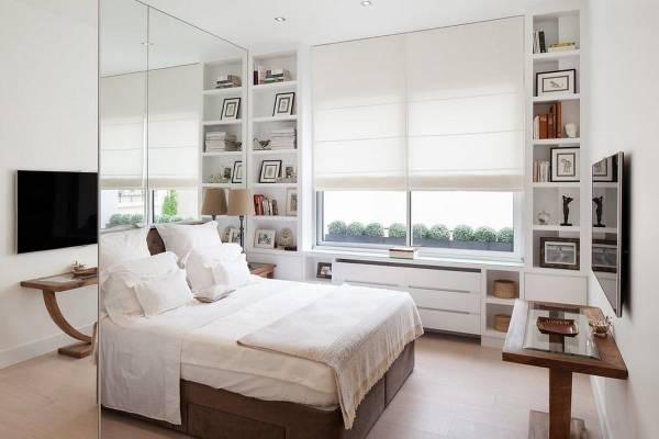 Маленькая спальня в белых тонах фото