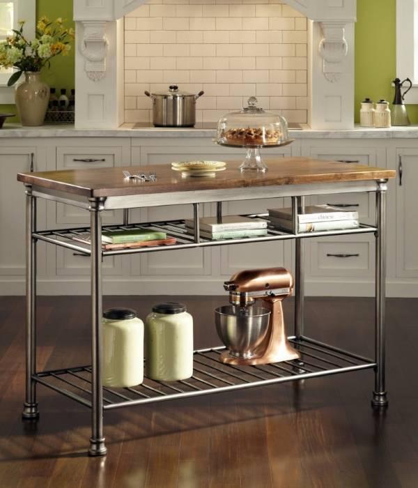 Металлический стол остров для кухни фото