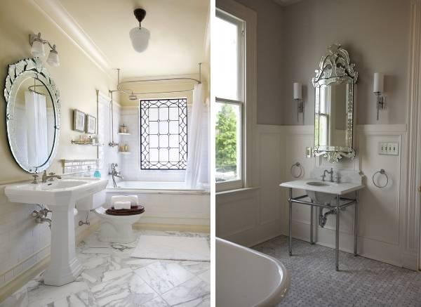 Резные зеркала в ванную комнату фото
