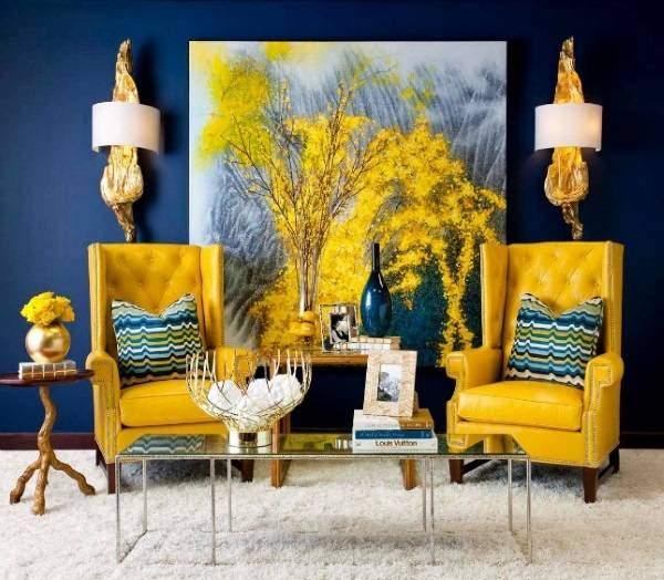 Сочетание желтого цвета с синим в интерьере