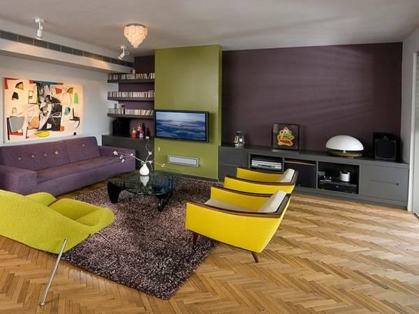 Дизайн гостиной с желтой мебелью