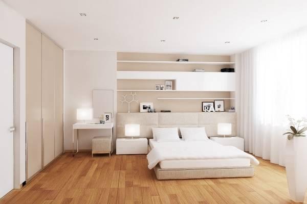 Современный дизайн белой спальни с теплым полом