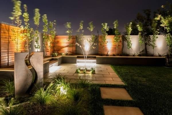 Современный дизайн садового участка - фото с led подсветкой