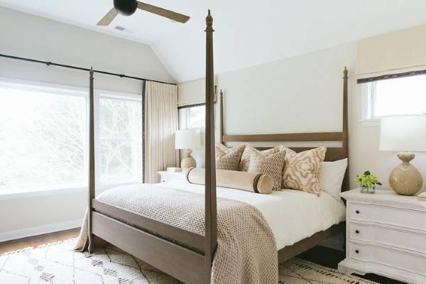 Современный дизайн белой спальни фото