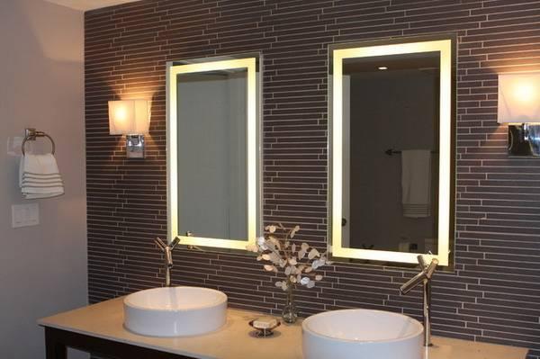 Прямоугольные зеркала с подсветкой для ванной