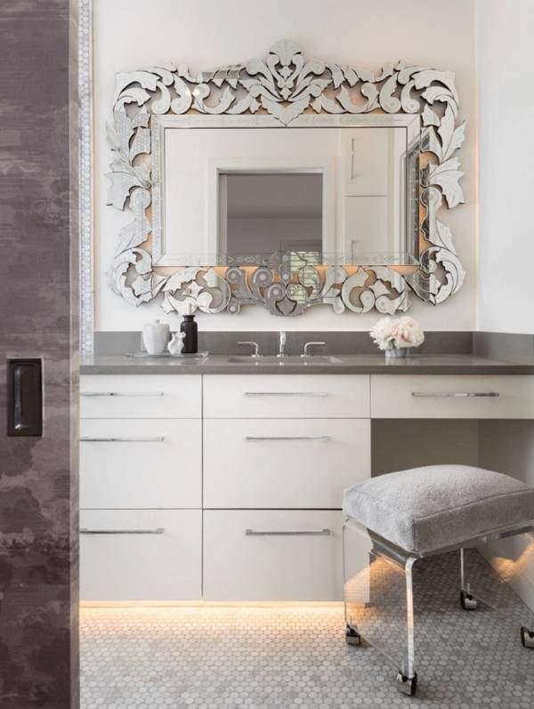 Декоративное зеркало в ванной комнате фото дизайн