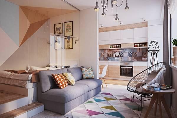 Современный дизайн квартир студий 40 кв м в Украине