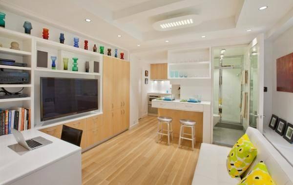 Гостиная, кухня и ванная в дизайне квартиры 40 кв м фото