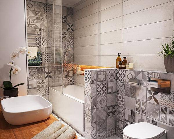 Дизайн квартиры 40 кв м - фото ванной комнаты
