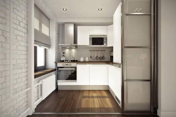 Небольшая кухня в дизайне двухкомнатной квартиры 45 кв м