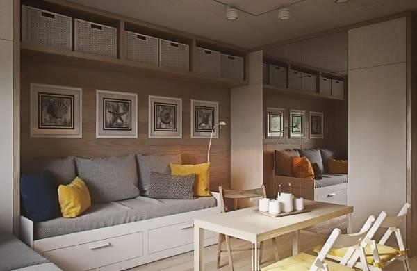 Минималистский дизайн интерьера однокомнатной квартиры 40 кв м