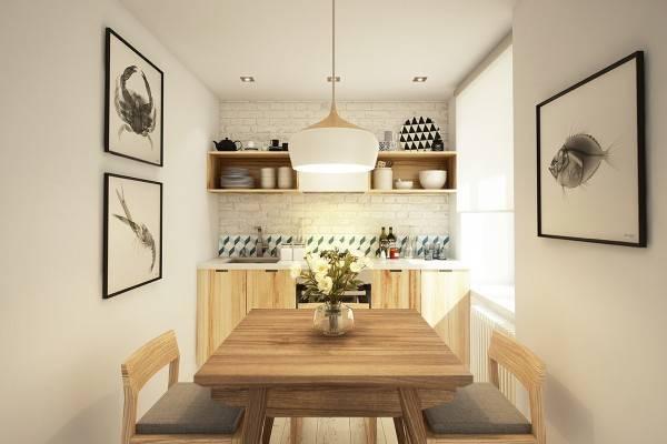 Маленькая кухня в дизайне квартиры 40 кв м