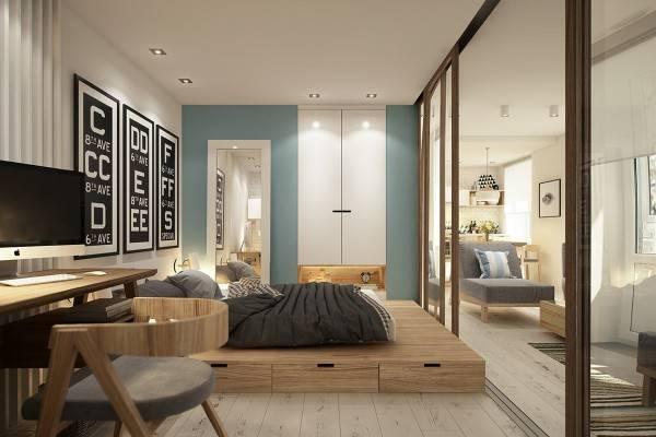 Отдельная спальня в дизайне квартиры студии 40 кв м фото