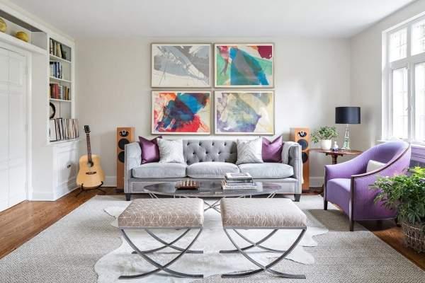 Роскошный диван в серебристом цвете фото в интерьере гостиной
