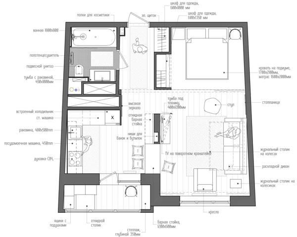 Фото дизайн проект однокомнатной квартиры 40 кв м