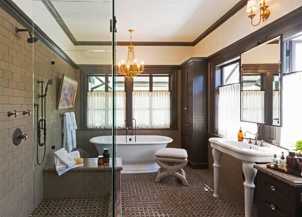 Шикарная ванная в дизайне частного дома