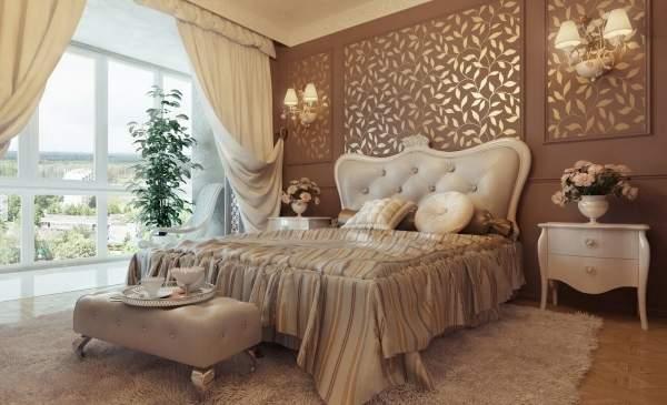 Женственный дизайн спальни в интерьере частного дома