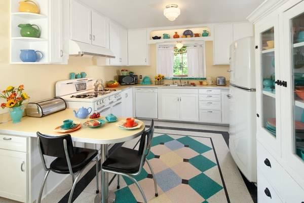 Стильный дизайн полов на кухне - линолеум