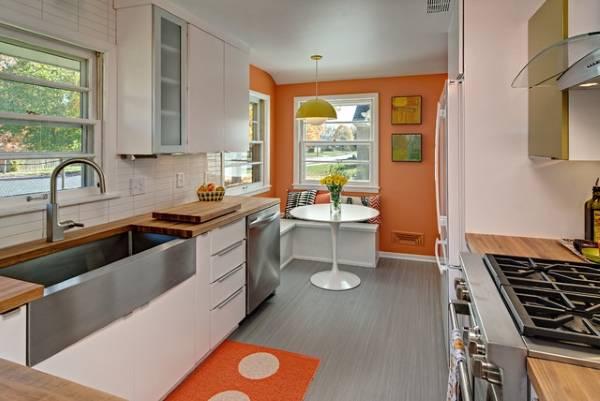 Виды напольных покрытий для кухни: линолеум