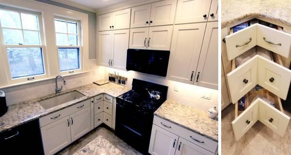 Дизайн угловой кухни белого цвета 2016 года на фото