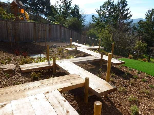Идеи садовых дорожек из дерева 2016