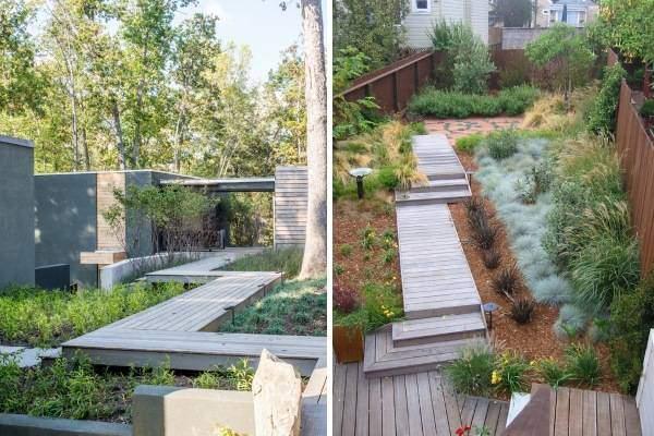 Деревянные дорожки на даче - фото ландшафтного дизайна