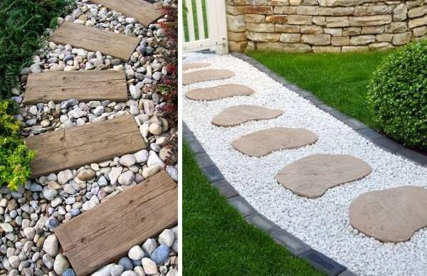 Как сделать садовую дорожки из гальки и дерева