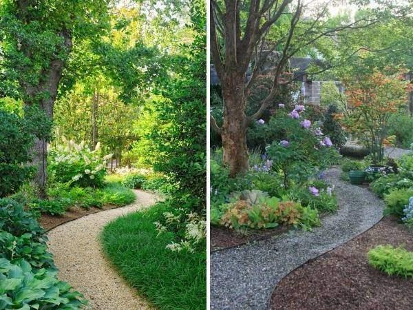 Садовые дорожки из гравия - фото разных оттенков камня