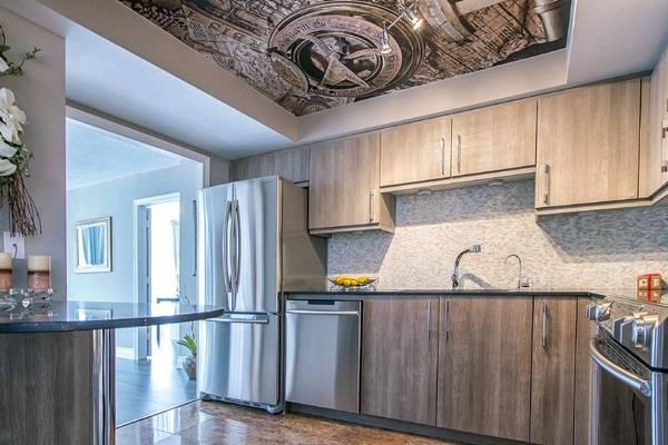 Натяжные потолки с фотопечатью в интерьер кухни 2016