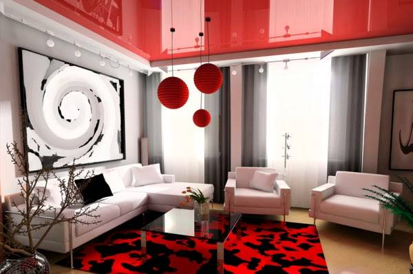 Дизайн интерьера с натяжным потолком красного цвета