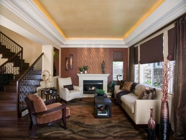 Идеи для дизайна натяжного потолка в гостиной 2016