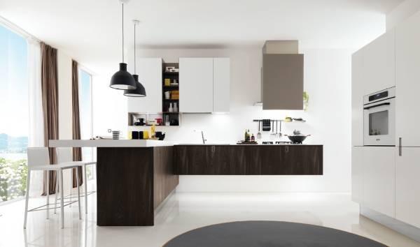 Минималистский дизайн угловой кухни Италия