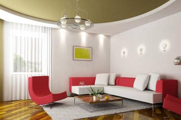 Зеленый натяжной потолок в дизайне гостиной в современном стиле