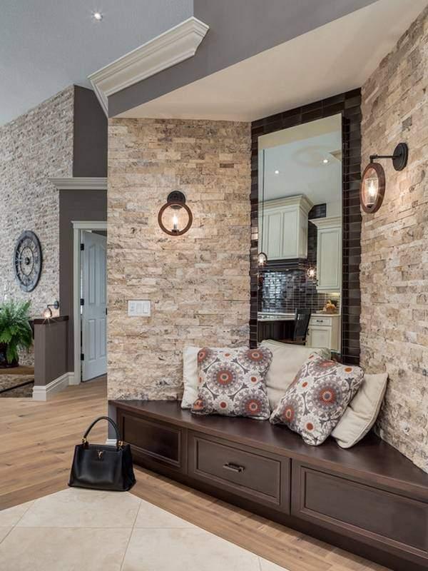 Роскошный дизайн маленькой прихожей с угловой мебелью