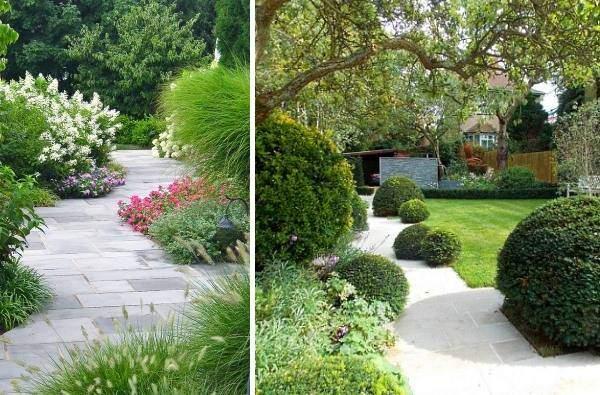 Крупная плитка для дорожек на даче - фото в саду