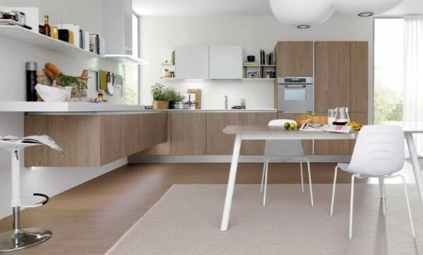 Подвесная мебель для угловой кухни от Euromobil