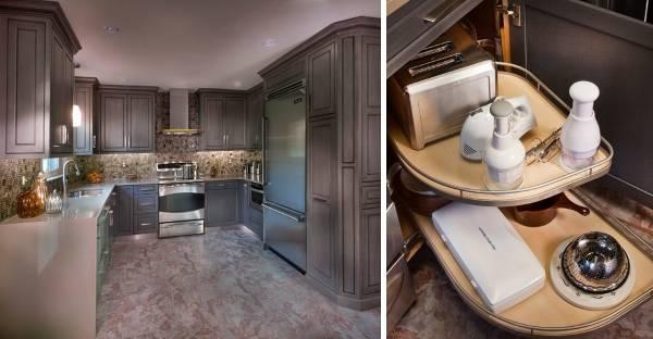 Роскошный дизайн угловой кухни с выдвижными ящиками 2016