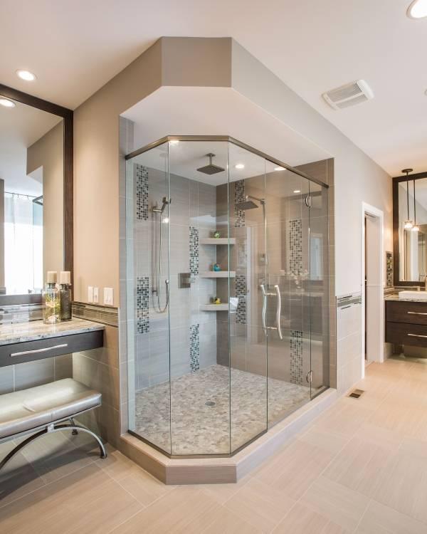 Стильные душевые кабины - фото в интерьере ванной