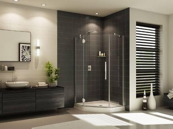 Угловой душ - фото в ванной комнате