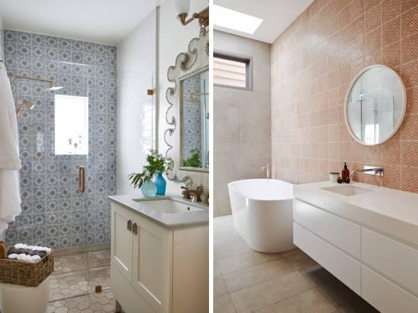 Ванная комната дизайн - фото модная плитка 2016 для маленькой ванны
