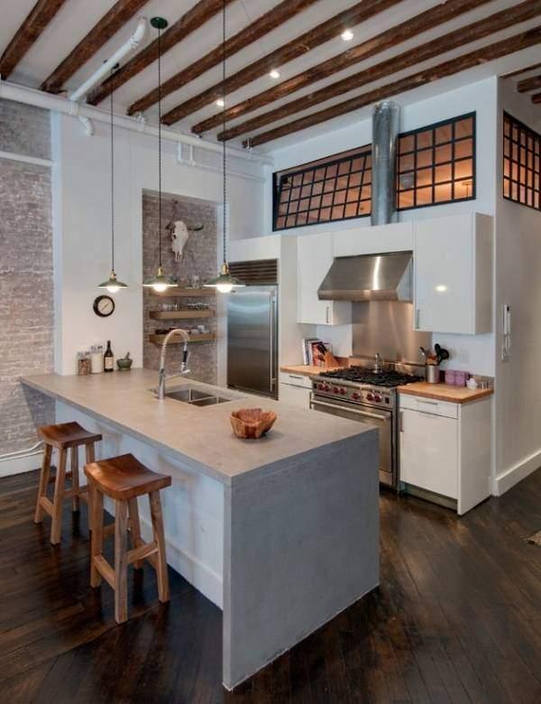 Фен шуй кухни в промышленном стиле лофт