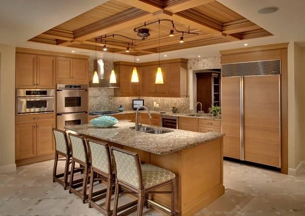 Точечное, подвесное и потолочное освещение на кухне - фото
