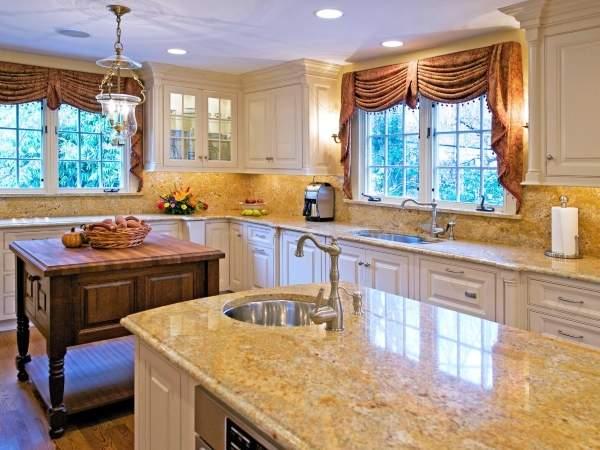 Шикарные короткие шторы на кухню - фото 2016