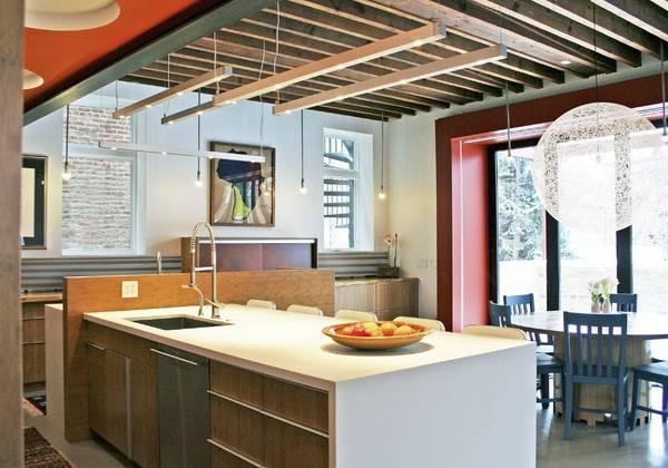 Кухонная подсветка рабочей зоны точечными светильниками