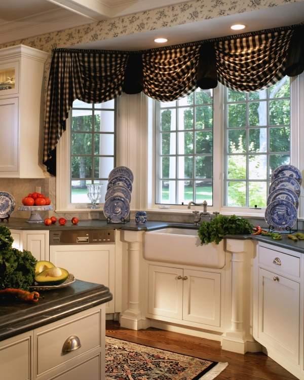 Деревенские шторы на кухню - фото 2016